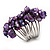 Wide Chunky Purple Freshwater Pearl Ring (Silver Plated Metal) - view 2