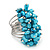 Wide Chunky Azure Blue Freshwater Pearl Ring (Silver Plated Metal) - view 2