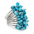 Wide Chunky Azure Blue Freshwater Pearl Ring (Silver Plated Metal) - view 3