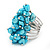 Wide Chunky Azure Blue Freshwater Pearl Ring (Silver Plated Metal) - view 5