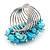 Wide Chunky Azure Blue Freshwater Pearl Ring (Silver Plated Metal) - view 6