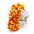 Wide Chunky Orange Freshwater Pearl Ring (Silver Plated Metal) - view 2