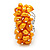 Wide Chunky Orange Freshwater Pearl Ring (Silver Plated Metal) - view 3