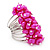 Wide Chunky Fuchsia Freshwater Pearl Ring (Silver Plated Metal) - view 5