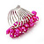 Wide Chunky Fuchsia Freshwater Pearl Ring (Silver Plated Metal) - view 3
