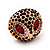 Gold Plated Diamante Owl Ring with Red Eyes - Adjustable - view 6