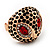Gold Plated Diamante Owl Ring with Red Eyes - Adjustable - view 7
