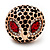 Gold Plated Diamante Owl Ring with Red Eyes - Adjustable - view 2