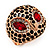 Gold Plated Diamante Owl Ring with Red Eyes - Adjustable - view 8