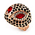 Gold Plated Diamante Owl Ring with Red Eyes - Adjustable - view 5