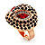 Gold Plated Diamante Owl Ring with Red Eyes - Adjustable - view 9