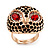 Gold Plated Diamante Owl Ring with Red Eyes - Adjustable - view 3