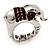 Rhodium Plated Diamante Elephant Stretch Ring - view 6