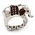 Rhodium Plated Diamante Elephant Stretch Ring - view 7