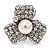 3 Petal Simulated Pearl Crystal Daisy Cocktail Ring In Rhodium Plating - 3cm Diameter - view 9