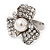 3 Petal Simulated Pearl Crystal Daisy Cocktail Ring In Rhodium Plating - 3cm Diameter - view 10