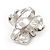 3 Petal Simulated Pearl Crystal Daisy Cocktail Ring In Rhodium Plating - 3cm Diameter - view 8