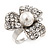 3 Petal Simulated Pearl Crystal Daisy Cocktail Ring In Rhodium Plating - 3cm Diameter - view 11