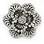 Large Layered Crystal 'Flower' Ring In Burnt Silver Finish - Adjustable - 60mm