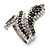 Dazzling Swarovski Crystals Snake Ring In Rhodium Plated Metal