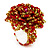 Large Multicoloured Glass Bead Flower Stretch Ring (Red & Olive)
