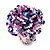 Large Multicoloured Glass Bead Flower Stretch Ring (White, Blue & Pink) - view 2