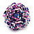 Large Multicoloured Glass Bead Flower Stretch Ring (White, Blue & Pink) - view 3