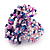 Large Multicoloured Glass Bead Flower Stretch Ring (White, Blue & Pink) - view 4