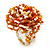 Large Multicoloured Glass Bead Flower Stretch Ring (Orange, White & Gold)