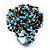 Large Multicoloured Glass Bead Flower Stretch Ring (Light Blue & Brown) - view 4