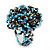 Large Multicoloured Glass Bead Flower Stretch Ring (Light Blue & Brown) - view 5