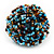 Large Multicoloured Glass Bead Flower Stretch Ring (Light Blue & Brown) - view 2