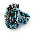 Large Multicoloured Glass Bead Flower Stretch Ring (Light Blue & Brown) - view 3