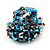Large Multicoloured Glass Bead Flower Stretch Ring (Light Blue & Brown) - view 6