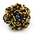 Large Multicoloured Glass Bead Flower Stretch Ring (Olive Green, Black & Brown) - view 2