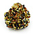 Large Multicoloured Glass Bead Flower Stretch Ring (Olive Green, Black & Brown) - view 4