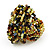 Large Multicoloured Glass Bead Flower Stretch Ring (Olive Green, Black & Brown) - view 5