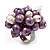 Freshwater Pearl & Bead Cluster Silver Tone Ring (Purple & Light Cream) - Adjustable - view 4