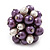 Freshwater Pearl & Bead Cluster Silver Tone Ring (Purple & Light Cream) - Adjustable - view 2