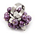 Freshwater Pearl & Bead Cluster Silver Tone Ring (Purple & Light Cream) - Adjustable - view 3