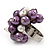 Freshwater Pearl & Bead Cluster Silver Tone Ring (Purple & Light Cream) - Adjustable - view 5