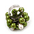 Freshwater Pearl & Bead Cluster Silver Tone Ring (Green & Light Cream) - view 2
