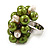 Freshwater Pearl & Bead Cluster Silver Tone Ring (Green & Light Cream) - view 3