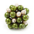Freshwater Pearl & Bead Cluster Silver Tone Ring (Green & Light Cream) - view 4