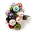 Freshwater Pearl & Bead Cluster Silver Tone Ring (Multicoloured) - Adjustable - view 3