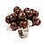 Freshwater Pearl & Bead Cluster Silver Tone Ring (Chocolate & Light Cream) - Adjustable - view 2