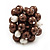 Freshwater Pearl & Bead Cluster Silver Tone Ring (Chocolate & Light Cream) - Adjustable - view 3