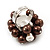 Freshwater Pearl & Bead Cluster Silver Tone Ring (Chocolate & Light Cream) - Adjustable - view 4