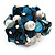 Freshwater Pearl & Shell Nugget Cluster Silver Tone Ring (Teal Blue & White) - Adjustable - view 4