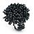 Dark Grey Glass Bead Flower Stretch Ring
